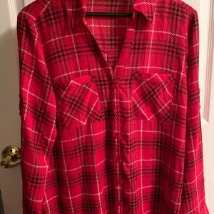 Red plaid Express Blouse